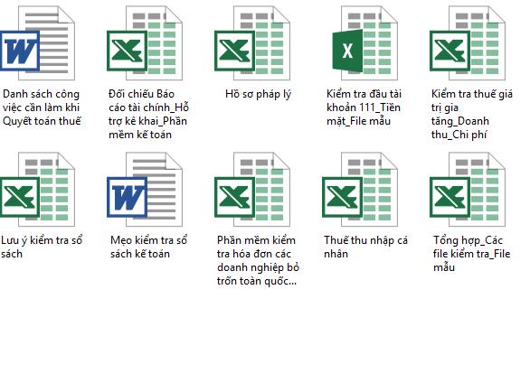10 File tài liệu phục vụ việc Quyết toán thuế 2016