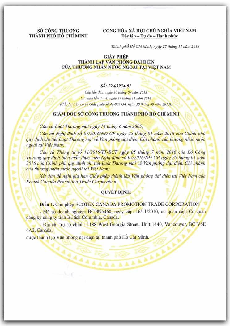 Mẫu giấy phép thành lập văn phòng đại diện tại Việt Nam