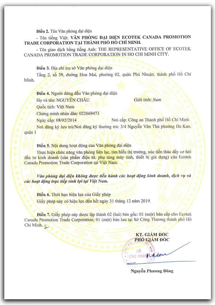 giấy phép thành lập văn phòng đại diện