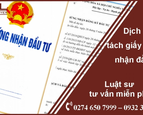 Dịch vụ tách giấy chứng nhận đăng ký đầu tư